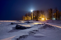 Snowy Pointe aux Barques at night